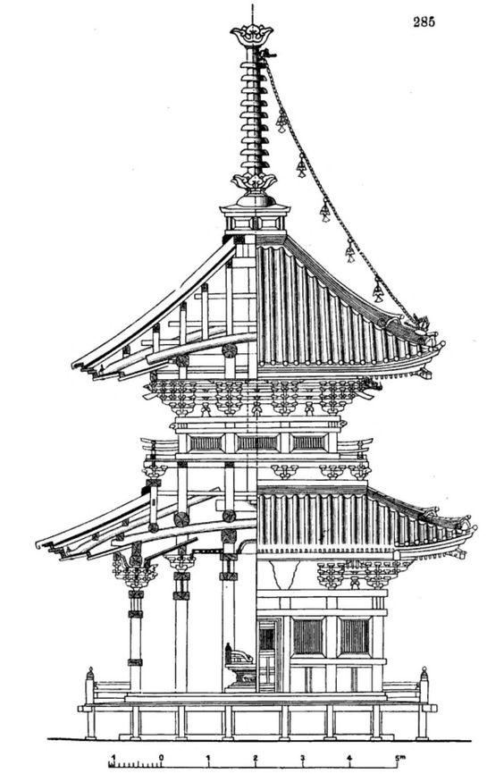 elevation and section of a japanese pagoda