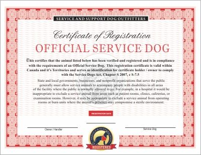 Service Dogs Certificate Templates Support Dog