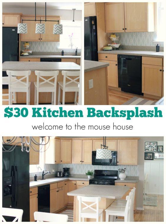 Kitchen backsplash target wallpaper and collage on pinterest for Washable wallpaper backsplash