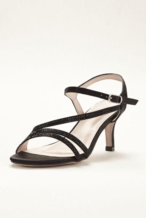 Black Strappy Low Heels Qu Heel