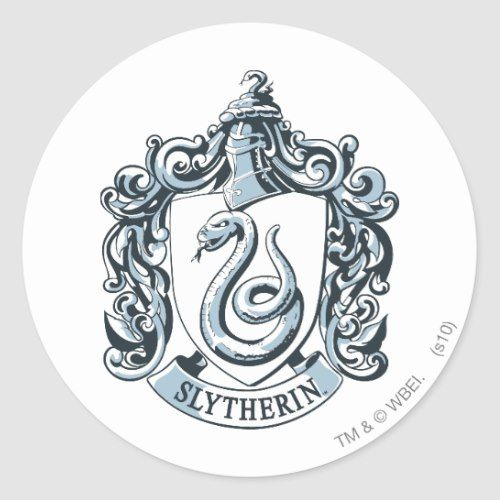 Harry Potter Slytherin Crest Ice Blue Classic Round Sticker Zazzle Com In 2021 Slytherin Crest Slytherin Harry Potter Houses Crests