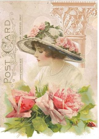 ♥Catherine Klein Lady in rose hat with roses in front of postcard