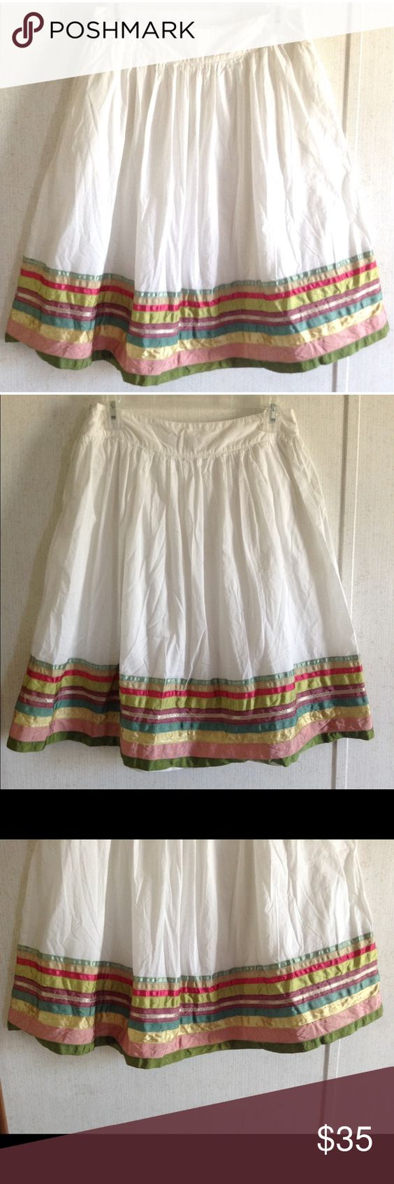 Zara Ribbon Striped Peasant Skirt Excellent condition. One small stain near the side. The bottom ribbon is a bit folded up. Super cute Zara peasant style skirt. White cotton fabric with ribbon trim hem. Lined inside. Small pleats around the waist. Wider waistband. Pocket on each side. Zips up one side. Size medium. All offers welcome Zara Skirts A-Line or Full