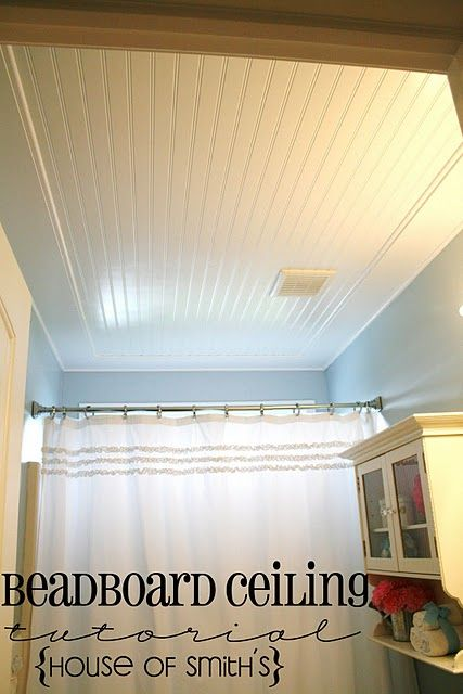 Beadboard ceiling put over popcorn. Love this idea!