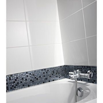 Carrelage mural en fa ence blanc 40x25 cm leroy merlin for Catalogue carrelage salle de bain