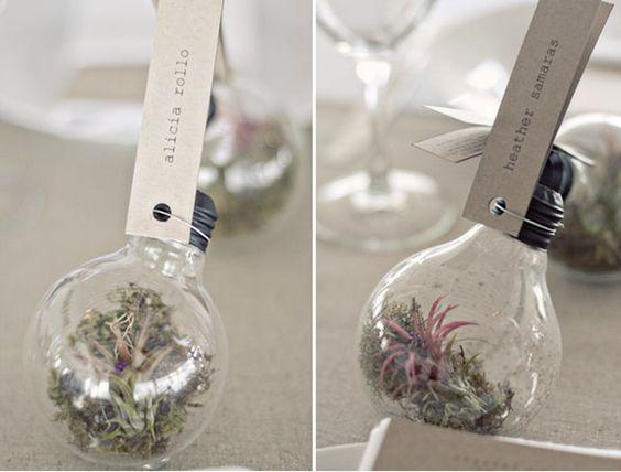 diy succulent ornament light bulb party favor