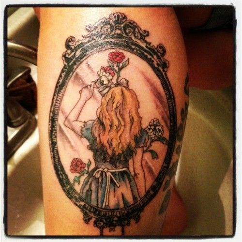 Alice in wonderland through the looking glass tattoo for Looking glass tattoos