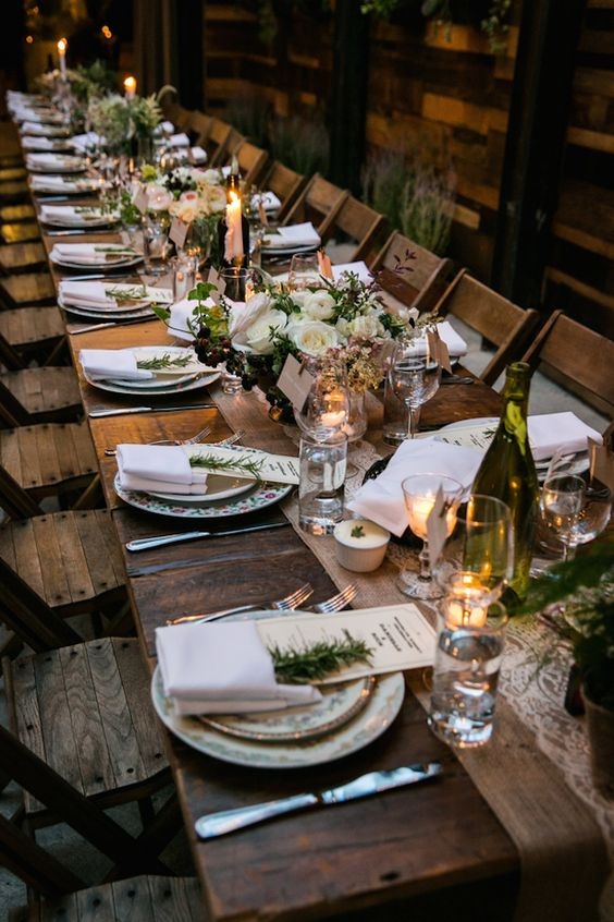 Urbanite chic wedding in brooklyn wedding long wedding for Long table centerpieces
