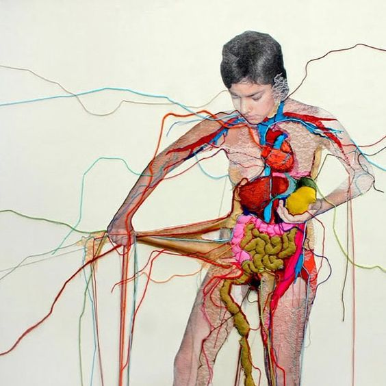 Embroidered piece by Peruvian artist Ana Teresa Barboza: