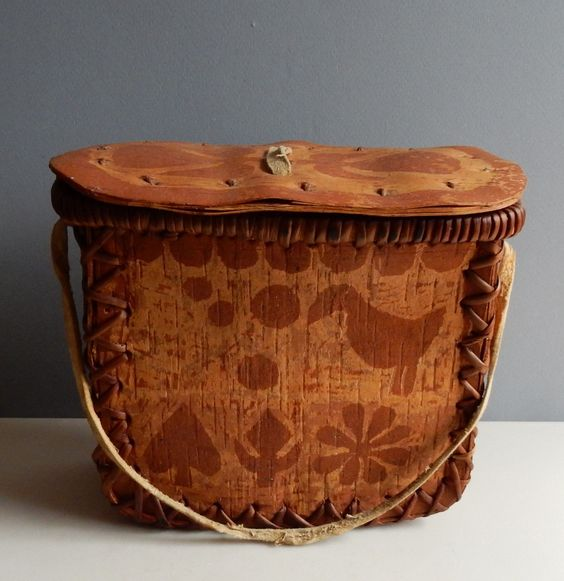 Beautiful Vintage Indian Birch Bark Box Lid Birds Leaves Unusual Basket | eBay