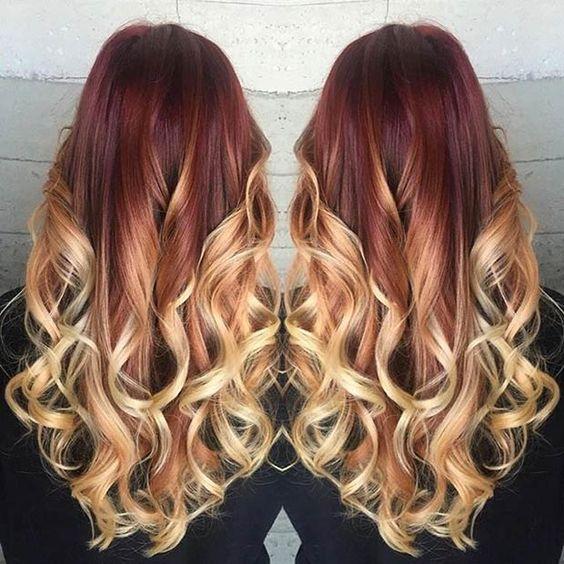 Red  Blonde Balayage Hair