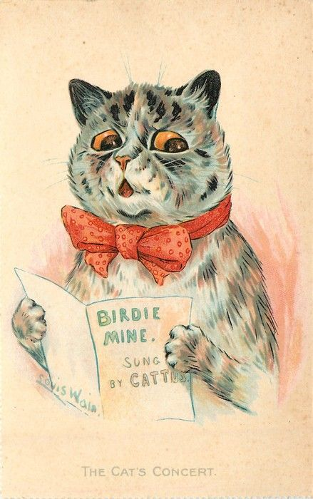 """Illustrated Victorian Greeting Card   """"THE CATS' CONCERT"""" - Louis Wain.  cute little kitten in a red bowtie:"""