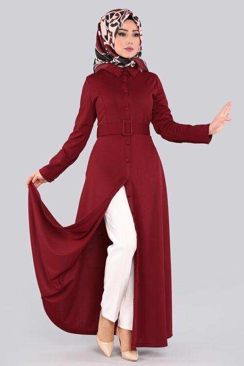 Modaselvim Elbise Kalin Kemerli Elbise Ferace Prm3044 Bordo Fashion Dresses Coat