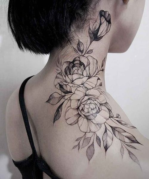 Lovely Placement Of Rose Tattoos For Women Rose Neck Tattoo Neck Tattoos Women Flower Neck Tattoo