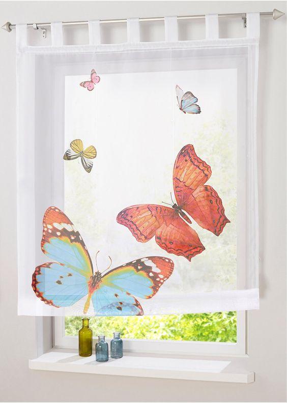 Voir:Store transparent à imprimé digital motif papillons, hauteur pattes comprise, dimensions = dimensions du tissu, lavable et facile d'entretien.