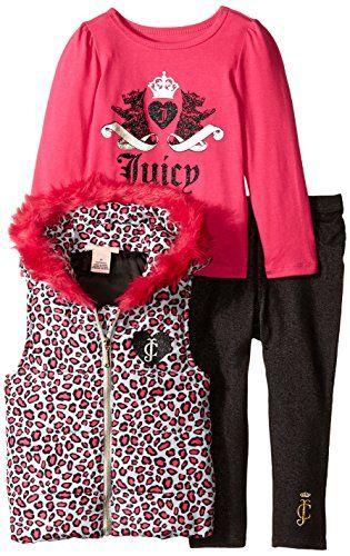 Juicy Couture Little Girls' Printed Vest with Tee and Jeggings, Multi, 3T. Tee and vest. Jeggings.