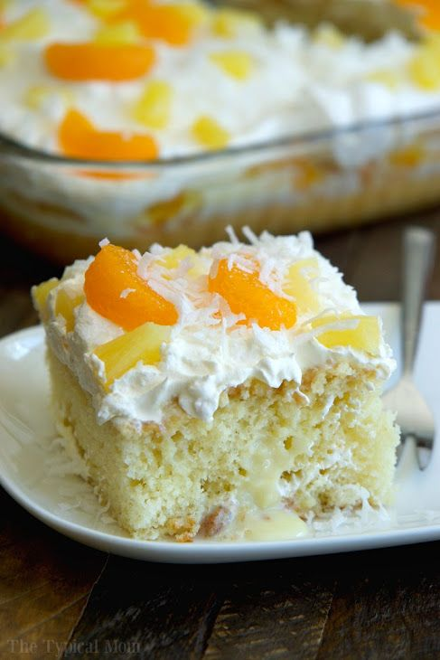 Tropical Poke Cake Recipe Yummly Recipe Poke Cake Recipes Poke Cake Cake