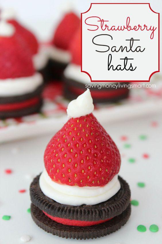 Strawberry Santa Hats with Oreos