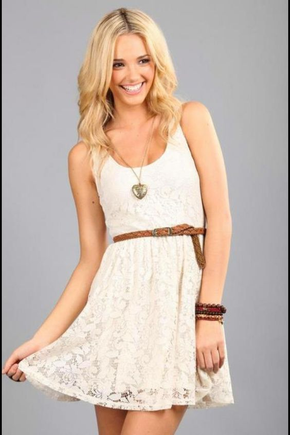 pics for gt white summer dress with brown belt