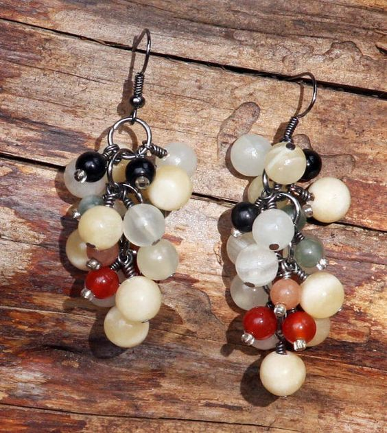 Dangle earrings multi colored glass bead  natural and eco-friendly 1 1/2