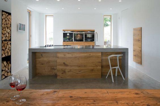 kombination beton und holz Ideen für moderne Küchen Pinterest - küchenarbeitsplatte buche massiv
