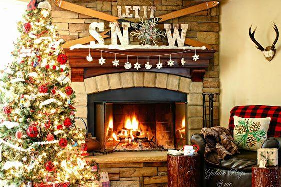 Rustic And Cozy Christmas Mantel With Vintage Skis And Ski Lodge Style