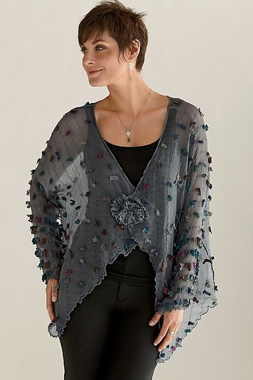 Pezzo Jacket by Deborah Murphy . Hand-dyed, multi-hued eyelashes are gently sprinkled throughout this sheer silk organza jacket. Can be worn open or closed.