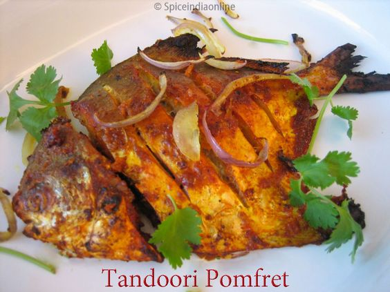 Tandoori pomfret recipe indian style grilled fish silver for Fish fry recipe indian