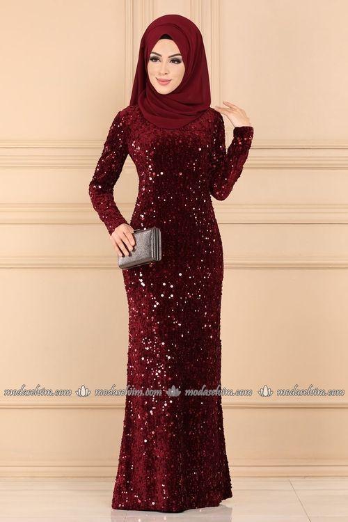 Modaselvim Abiye Pul Payetli Tesettur Abiye Elbise Pl6016 Bordo Tesettur Modelleri 2020 Elbise Elbiseler Elbise Modelleri