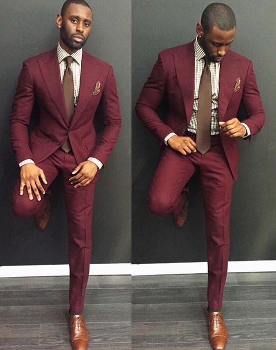 Bold, retro maroon color and slim-fit makes for a sleek modern look.