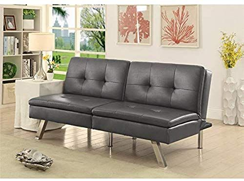 Best Seller Furniture America Fosso Faux Leather Futon Gray Online In 2020 Futon Sofa Leather Futon Furniture
