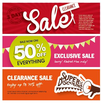 Flat styles sale banners vector set 03 - Vector Banner free ...