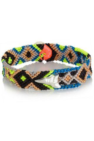 Dezso by Sara Beltràn|Shark Tooth woven cotton and silver friendship bracelet|NET-A-PORTER.COM