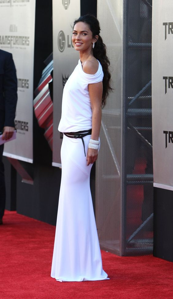 Pin for Later: Excessive Heat Warning: Megan Fox's All-Time Sexiest Looks Megan Fox in White KaufmanFranco at the 2009 Transformers: Revenge of the Fallen LA Premiere At first glance, one might think this look was a bit reserved for Megan, but upon further inspection . . .