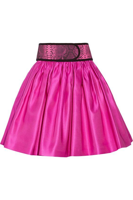 Christopher KaneBelted silk-satin skirt