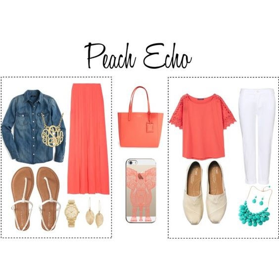 Peach Echo by chronicles-allie on Polyvore featuring J.Crew, MANGO, J Brand, Aéropostale, TOMS, Kate Spade, Michael Kors, Lulu*s, Casetify and peachecho: