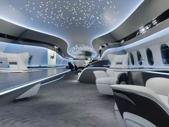 This Boeing 737 Max private jet interior design looks more like a futuristic spaceship than it does a private jet