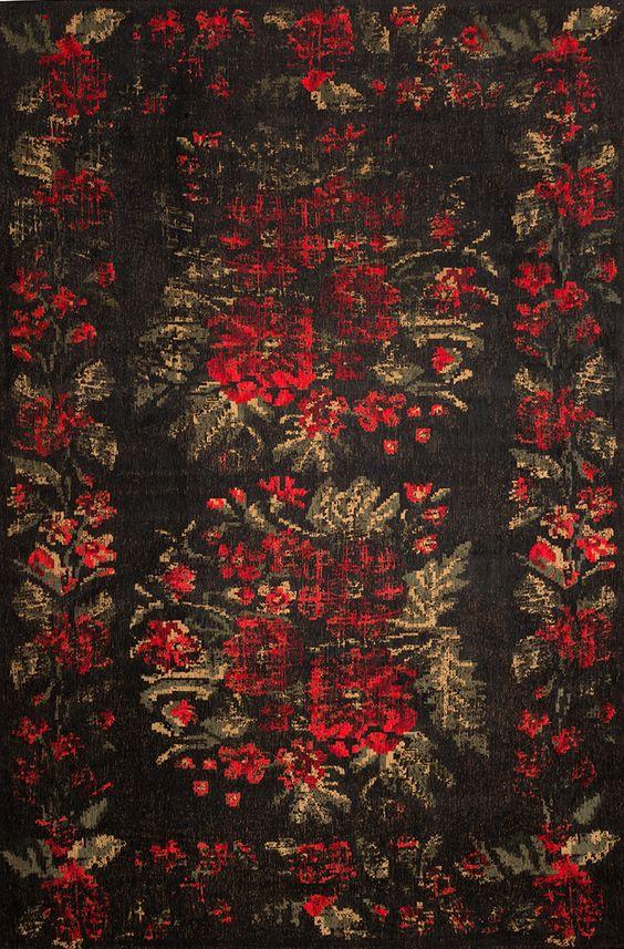 Klassicher Orient Teppich Muster  gefärbt gewebt  black