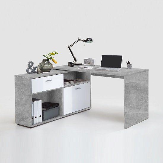 Mattia Corner Computer Desk In White Gloss And Light Atelier 2 Decorar Oficinas En Casa Muebles Para Computadora Estilo De Escritorio