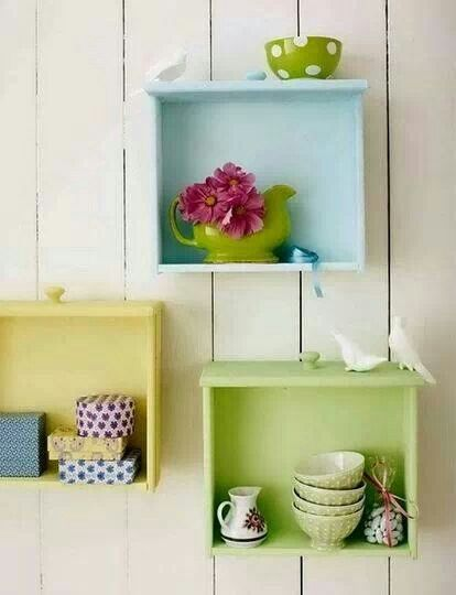 Love the idea of using old drawers like this