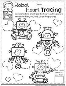 February Preschool Worksheets Planning Playtime February Preschool Worksheets Preschool Fun Robots Preschool Valentine day worksheets for toddlers