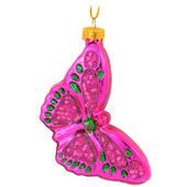 Butterfly Pink with Green Ornament