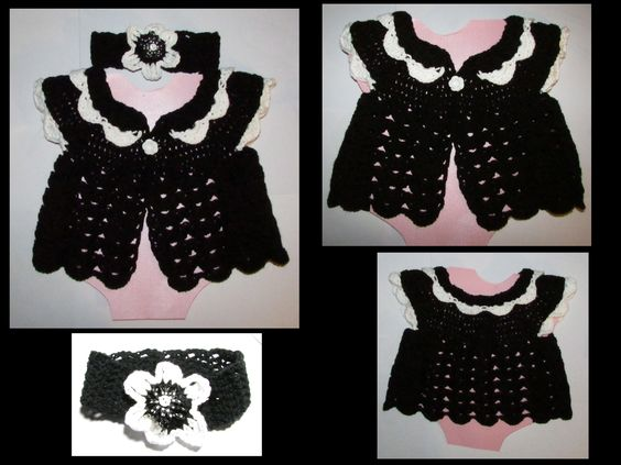 Baby Girl Lacy Sweater with Headband $30
