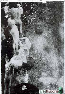 Gustav Klimt,1907. Para decorar el techo del Aula Magna de la Universidad de Viena se resolvió incluir iconografías de las Facultades de Teología, Filosofía, Medicina y Jurisprudencia. Para la Filosofía, Klimt elaboró una escena de tradición barroca esilísticamente referida a Rodin que cuando fue expuesta, suscitó enorme polémica. Ante los ataques aliados, los tres lienzos de Klimt (Filosofía, Medicina y Jurisprudencia) fueron llevados al castillo de Immendorf pero las SS lo incendiaron.