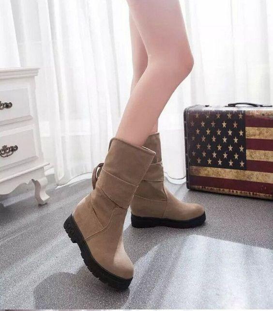 Women Flat Mid Calf Boots Platform Riding Boots Winter Faux Suede Shoes U78