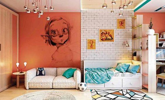 Si quieres lograr una división marcada, usa paredes de ladrillo expuesto en uno de los ambientes, y muros de colores intensos, en otra estancia. En este caso también se eligió un falso techo retroiluminado, para demarcar espacios. (Foto: Archicgi)