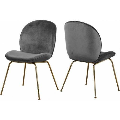 Grey Velvet Mid Century Accent Dining Chair Gold Legs Set Of 2