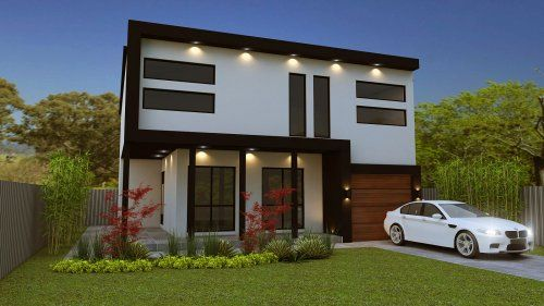 4 Bed Flat Roof 2 Storey Plan 356rm House Plans Australia Flat Roof House Flat Roof