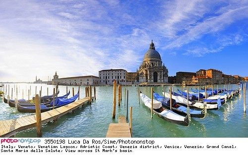 Italy, Veneto, Venetian Lagoon, Adriatic Coast, Venezia district, Venice, Venezia, Grand Canal, Santa Maria della Salute, View across St Mark's basin