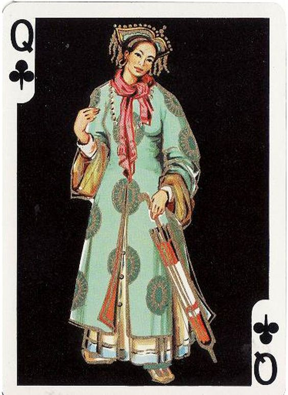 #PlayingCardsTop1000 - Fournier far East- Queen of clubs